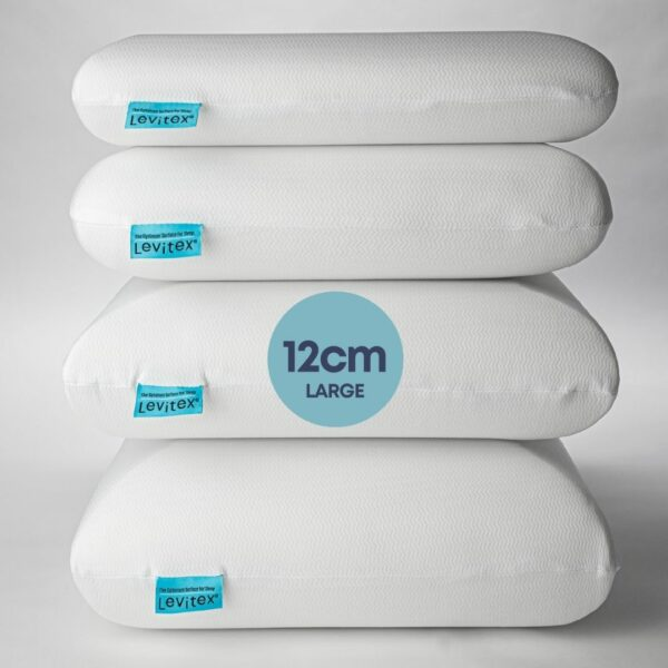 stacked pillows with the 12cm marked