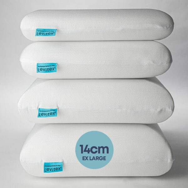 stacked pillows with the 14cm marked