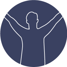 outline of a man stretching