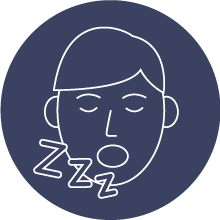outline of a man snoring