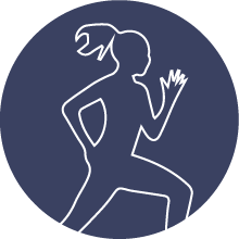 outline of a woman running