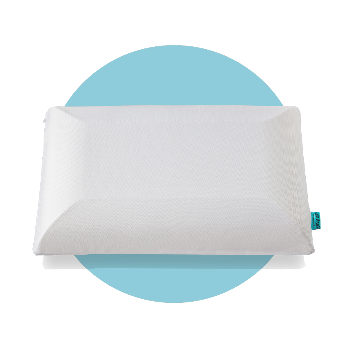 white pillow on a blue background