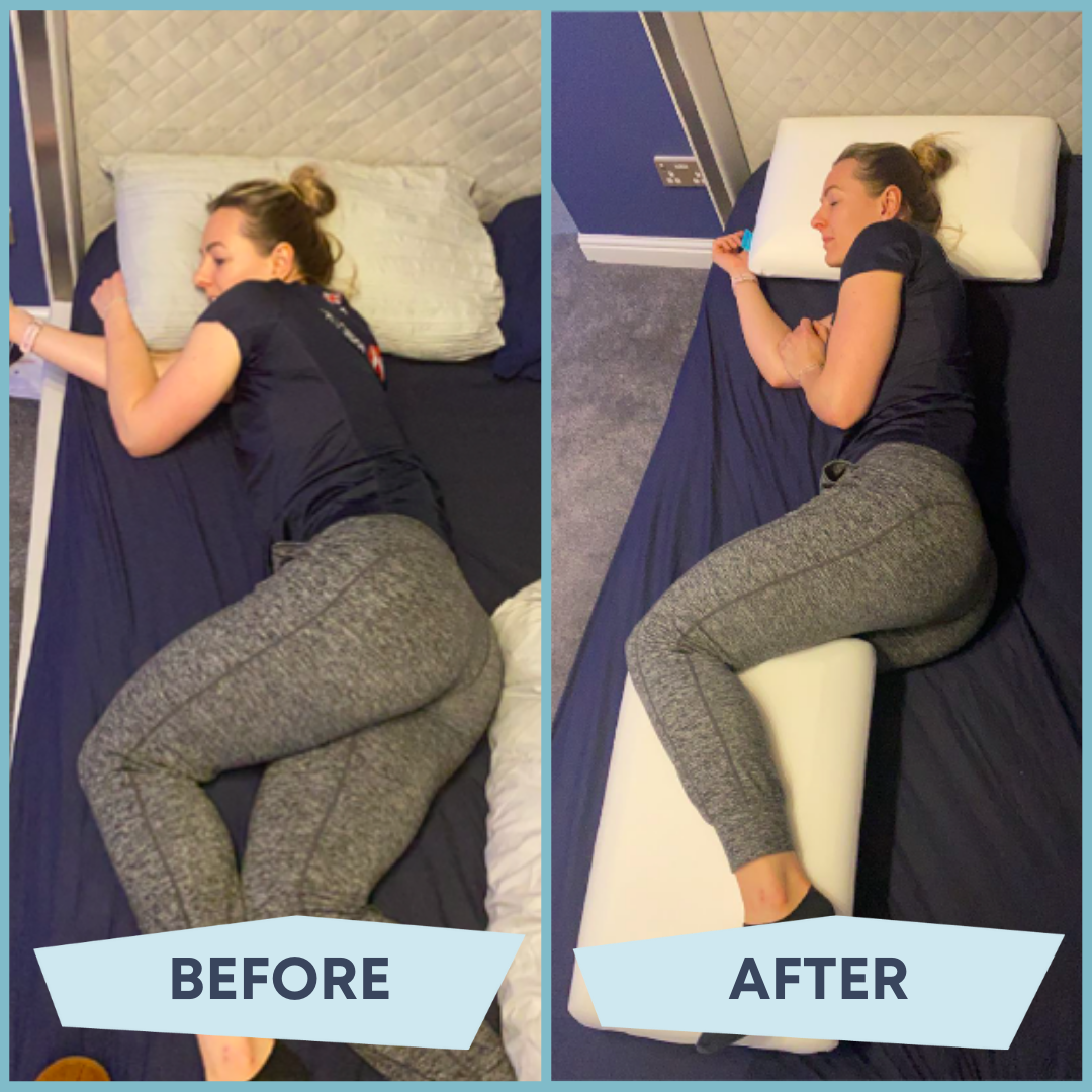 before after shoulder pain pillow trick